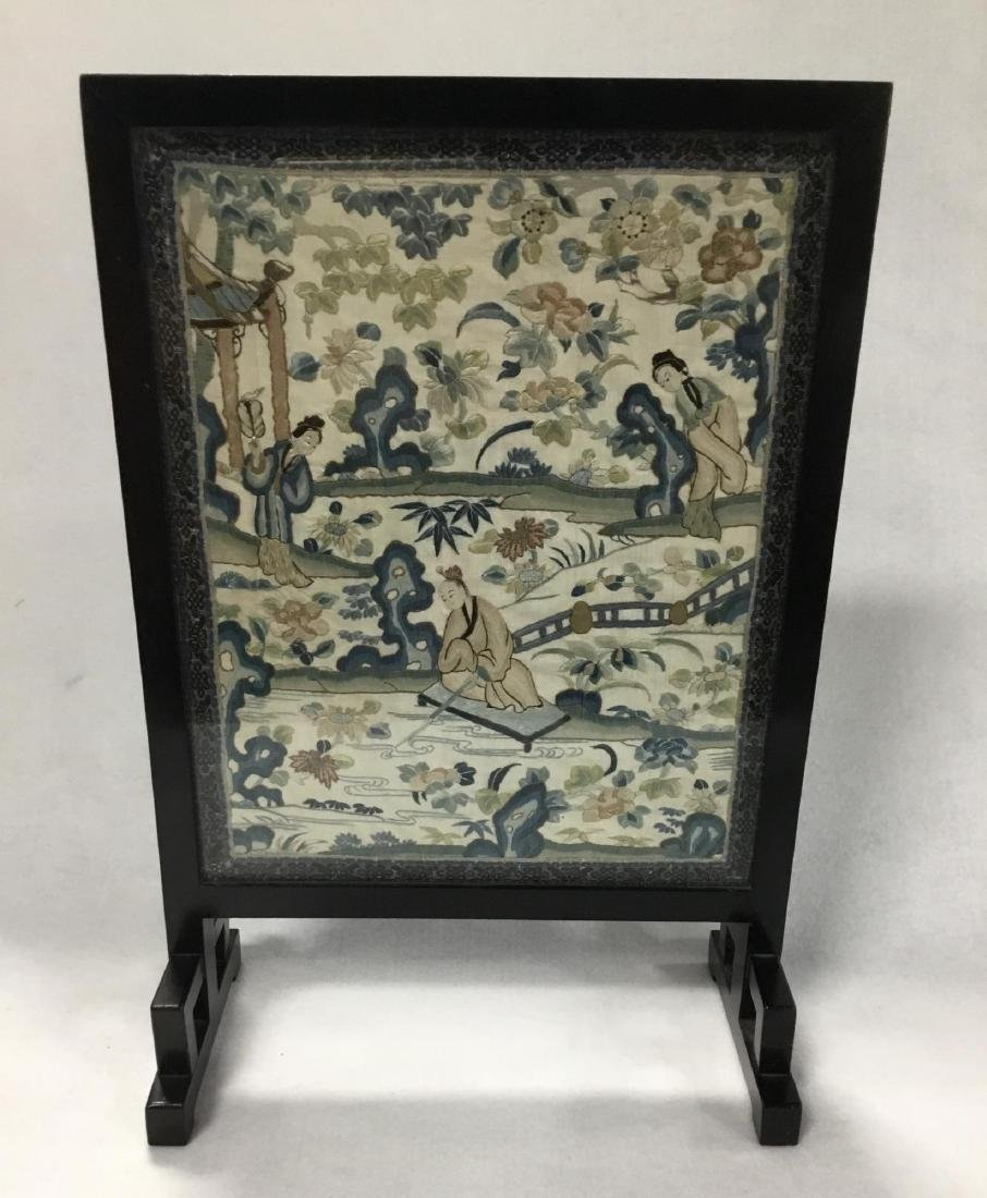 19 th  Century Chinese Embroidered Silk Table Screen