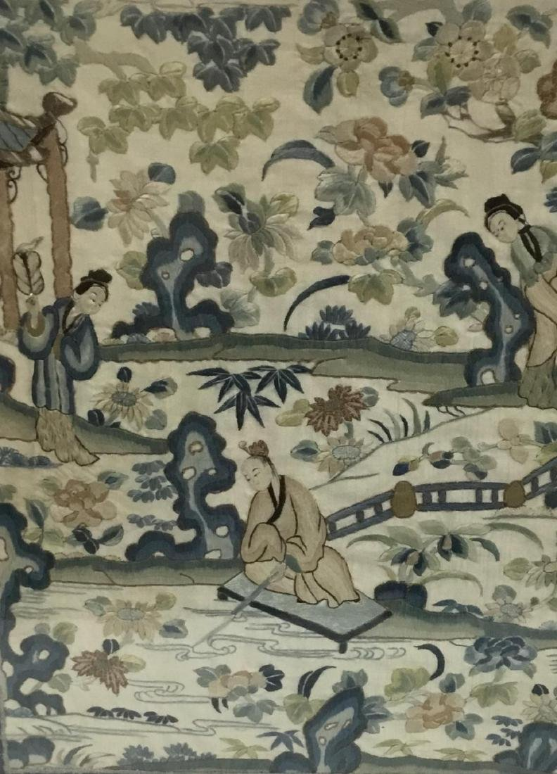 19 th  Century Chinese Embroidered Silk Table Screen - 2