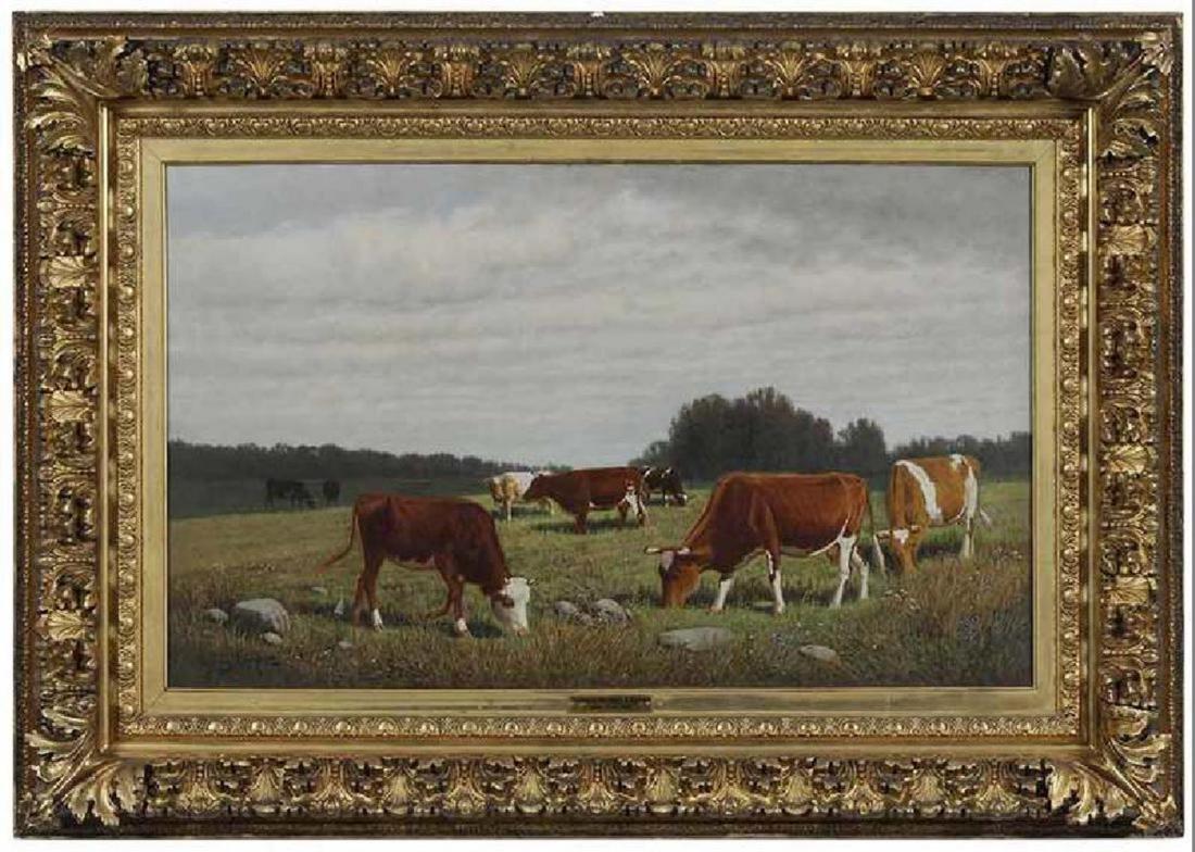 English School, 19th /20th Century, Cows Grazing in