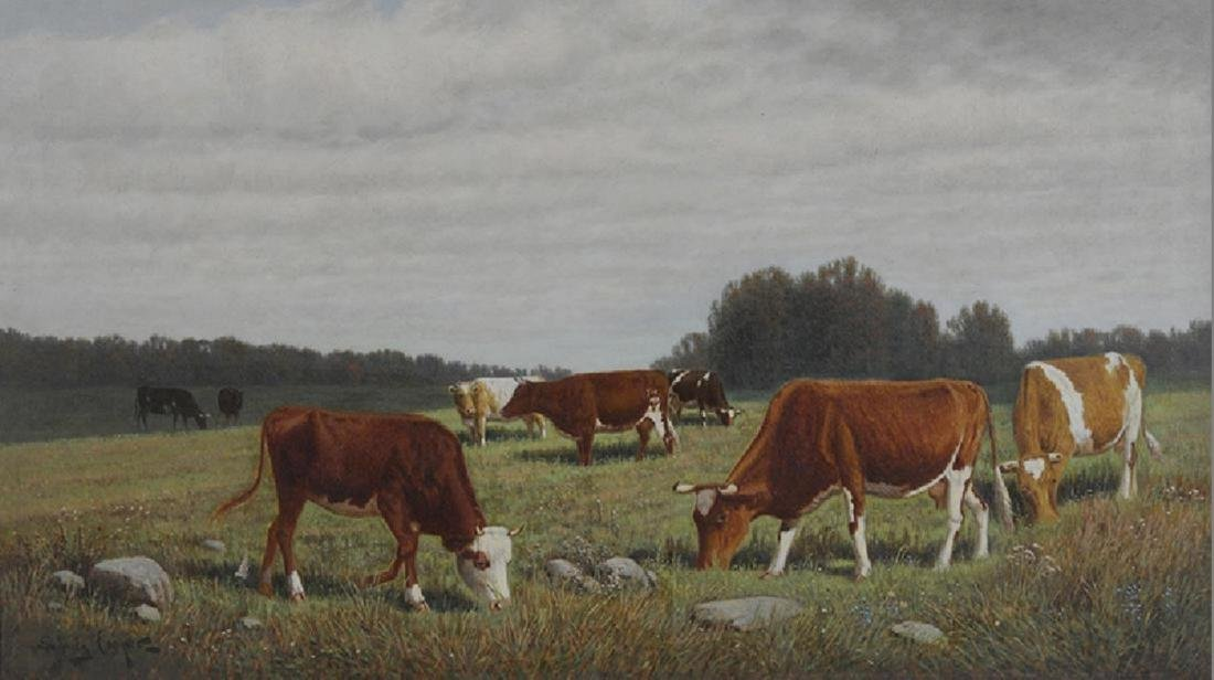 English School, 19th /20th Century, Cows Grazing in - 2