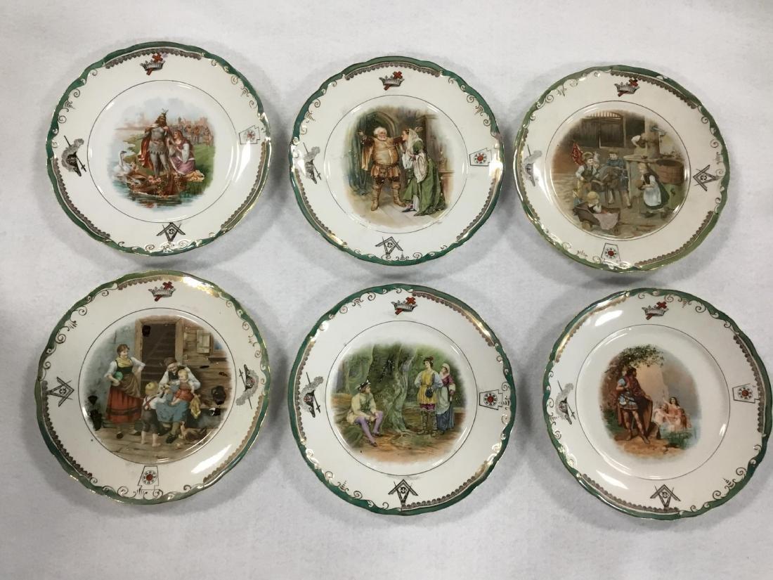 Lot of 6 Masonic Plates