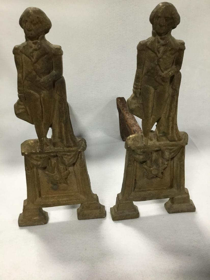 George Washington Cast Bronze Pair of Andirons