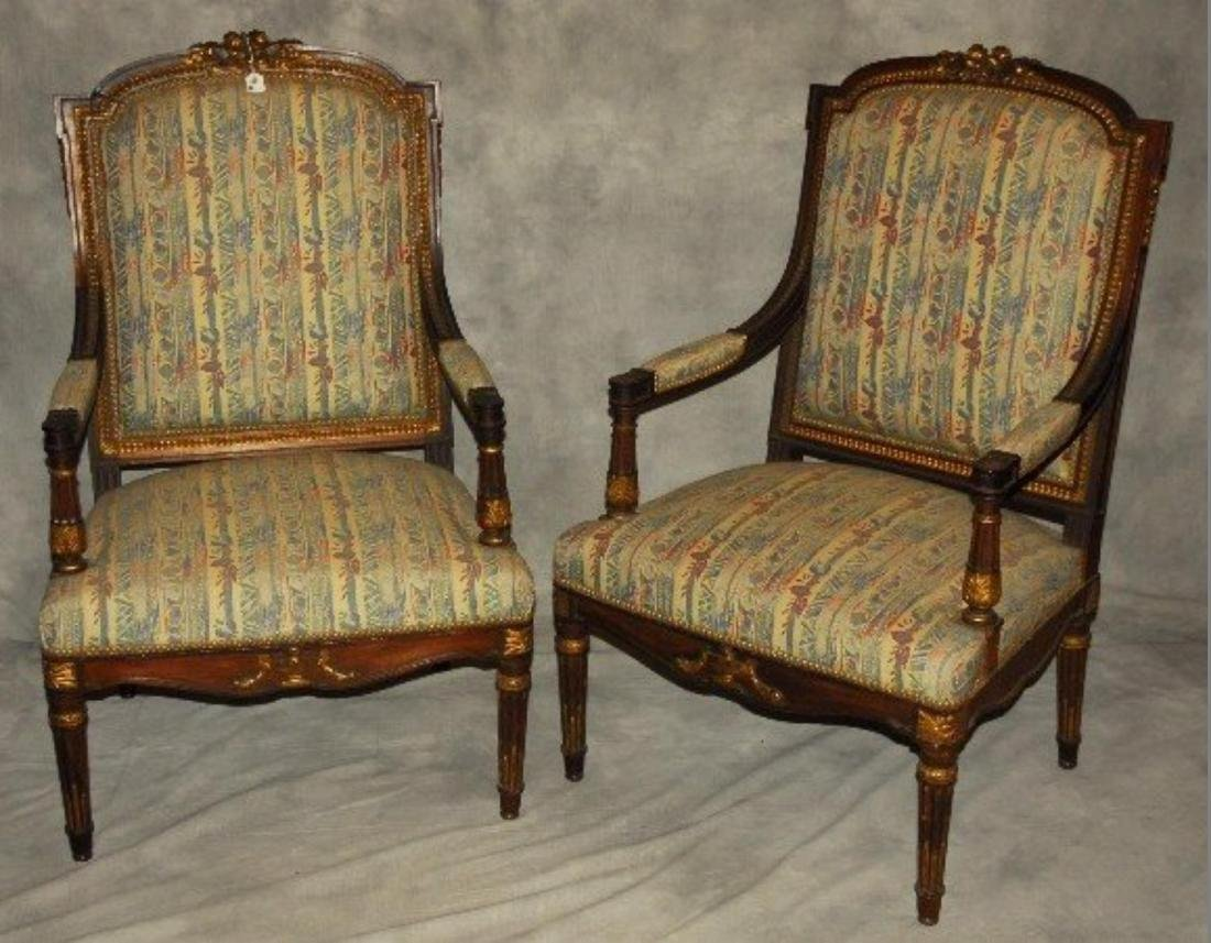 Pair of 19 th  Century Louis XVI Carved and Partial