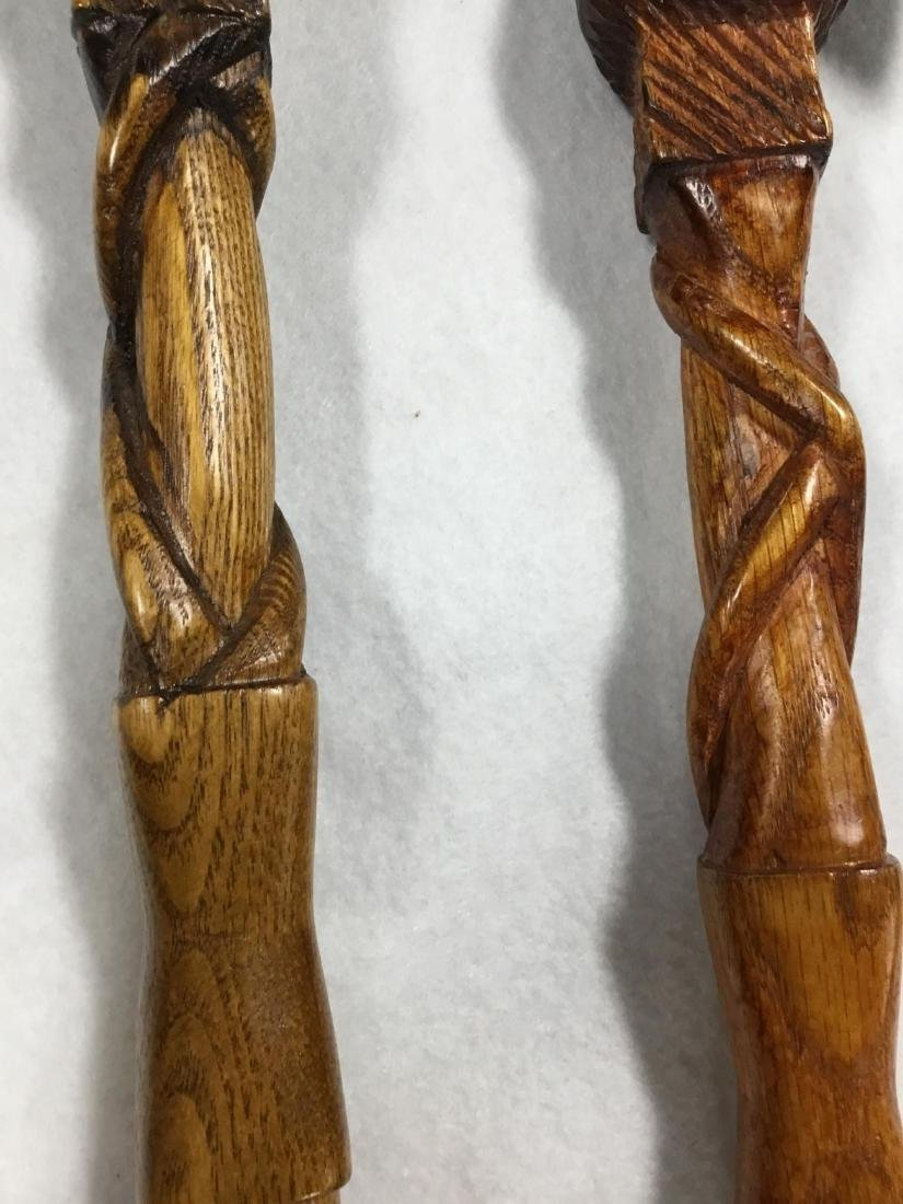 Pair of Hand Carved Walking Sticks from Ireland - 5
