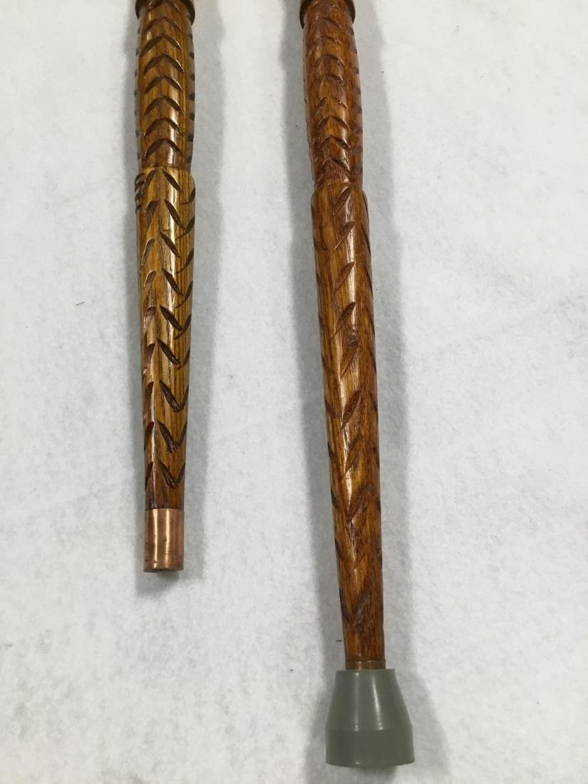 Pair of Hand Carved Walking Sticks from Ireland - 6