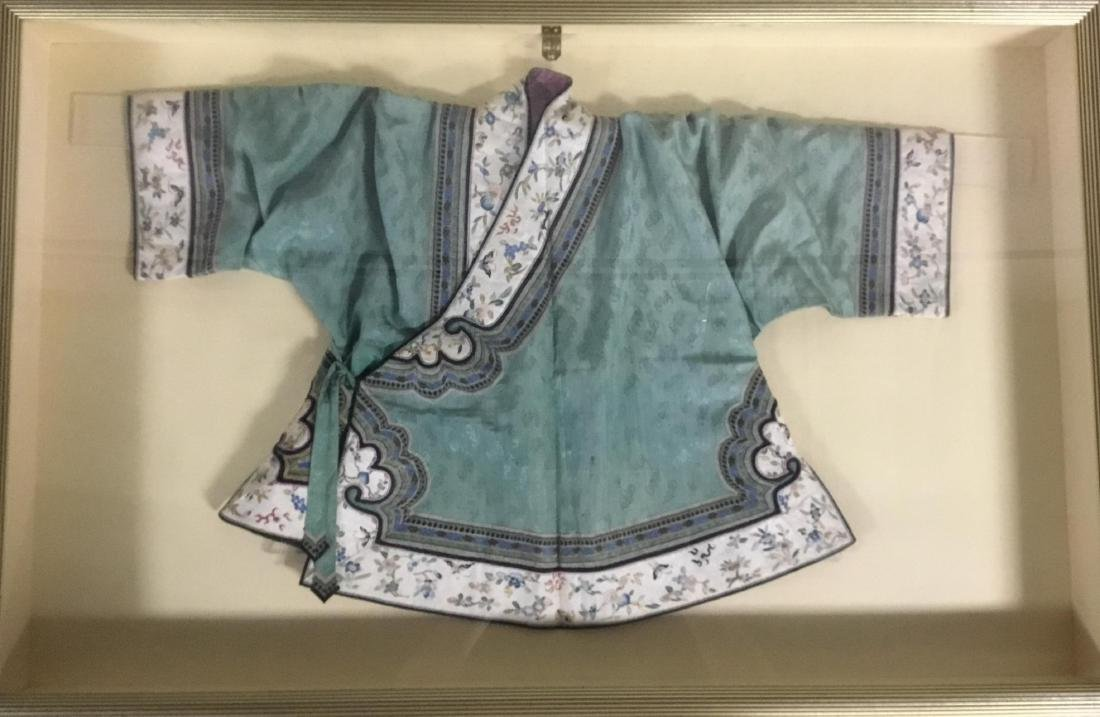 Chinese Embroidered Silk Child's Robe with Flowers.