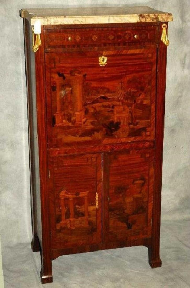 19th Century French Louis XV marble top and inlaid