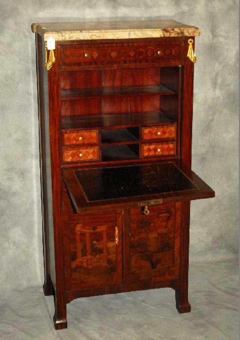 19th Century French Louis XV marble top and inlaid - 3