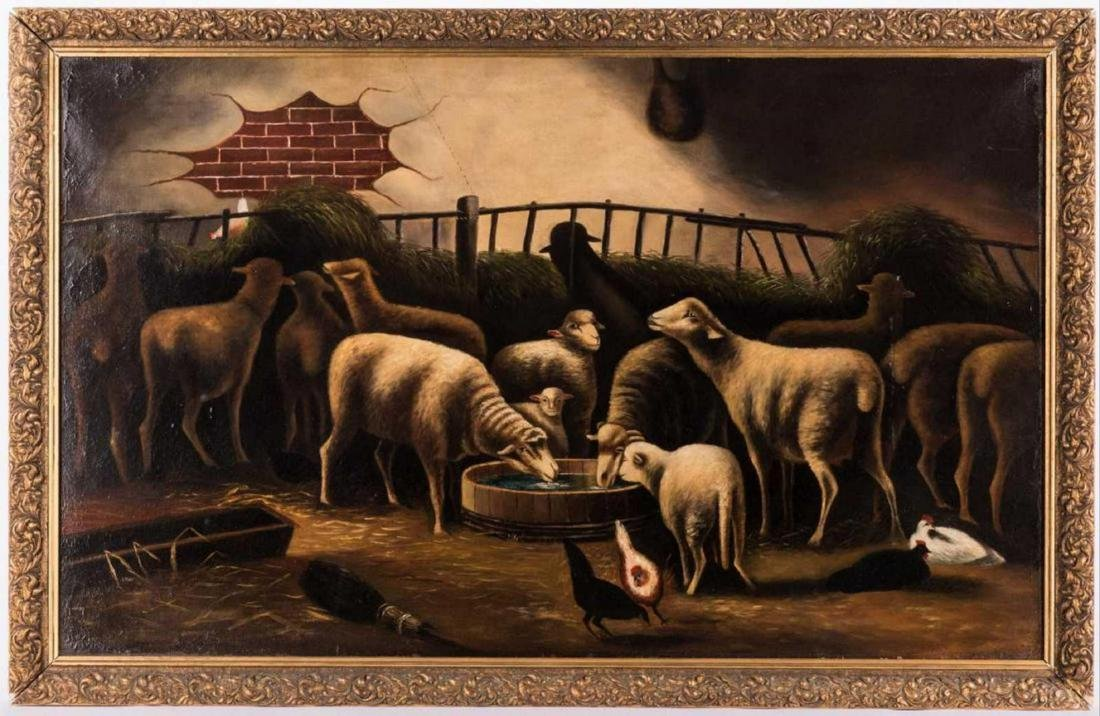 19 th  Century American School, Flock of Sheep with