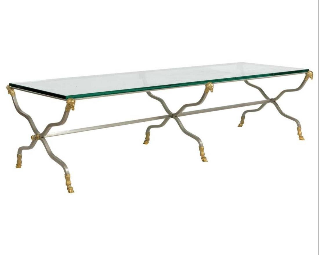Hollywood Regency  Brushed Steel Coffee Table with