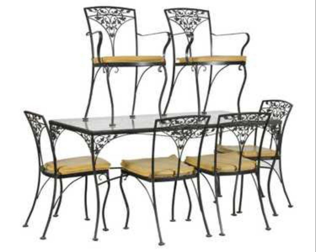 Iron Patio Dining Table and Six Chairs, 20 th  Century.