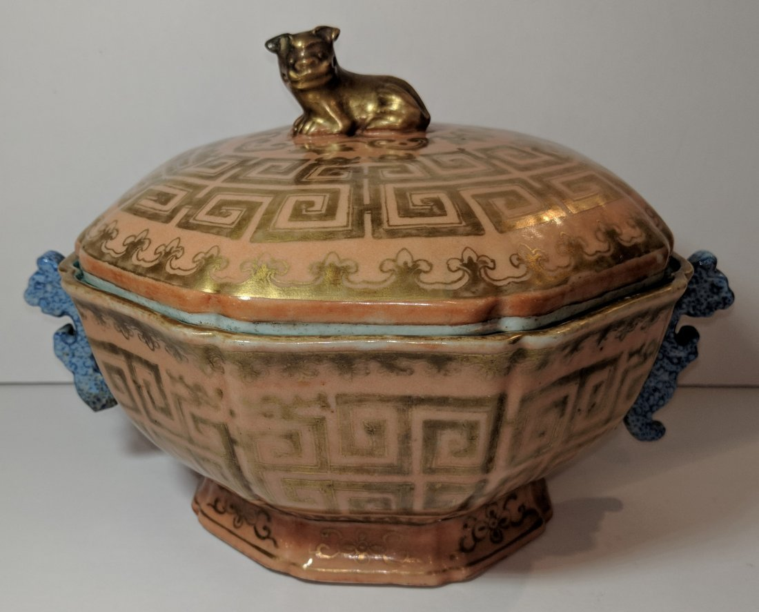 Chinese Qianglong Gilt Decorated Porcelain Hexagonal