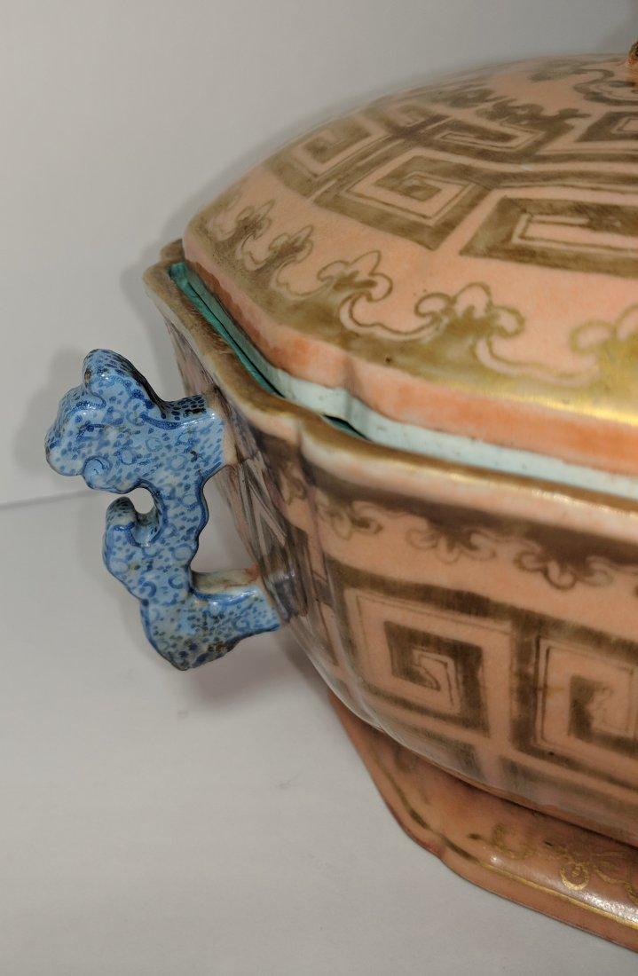 Chinese Qianglong Gilt Decorated Porcelain Hexagonal - 7