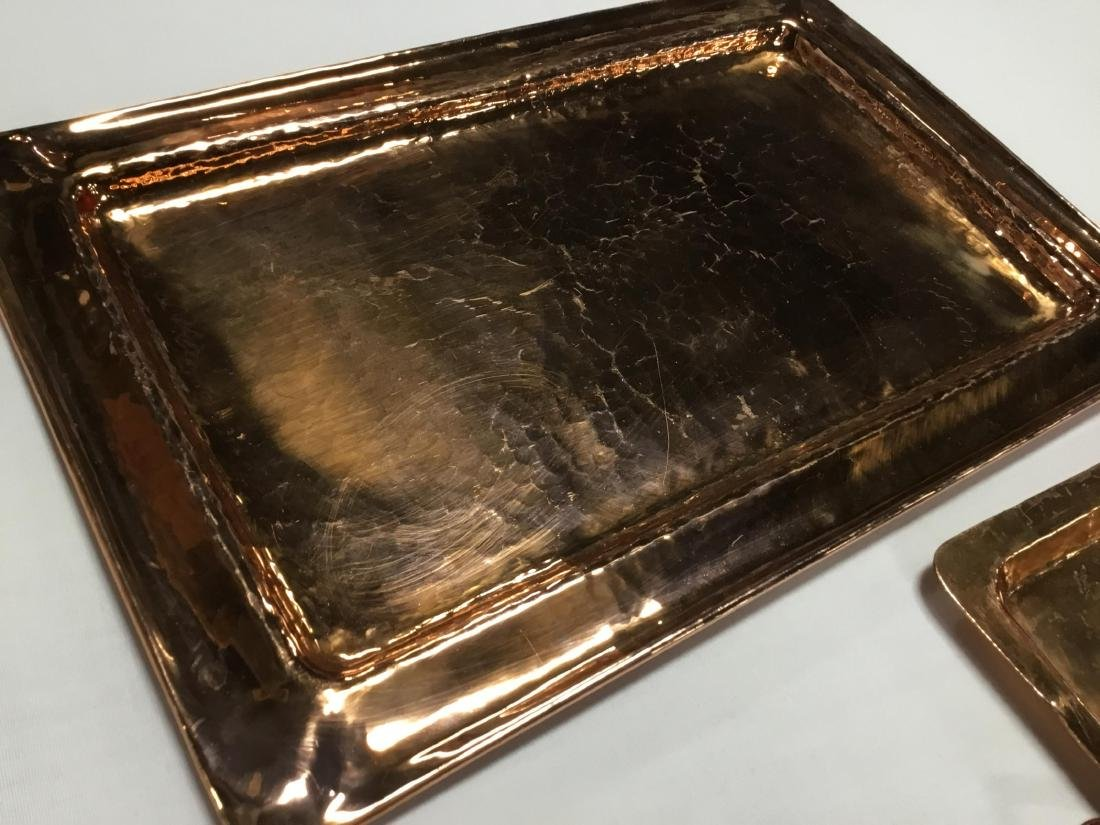 2 Hammered Copper Trays - 2