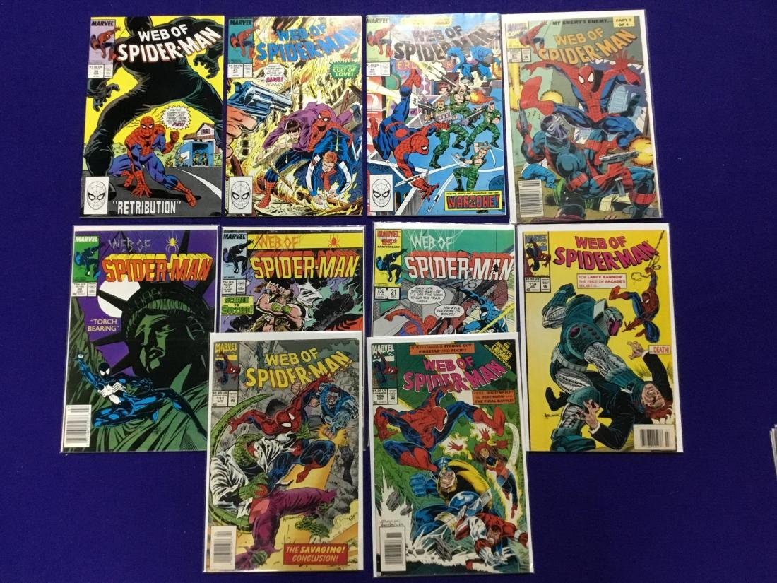Lot of 10 Web of Spiderman Issues