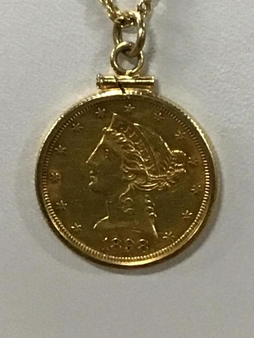 1898 $5 Gold Piece on Pendant on Gold Chain - 2