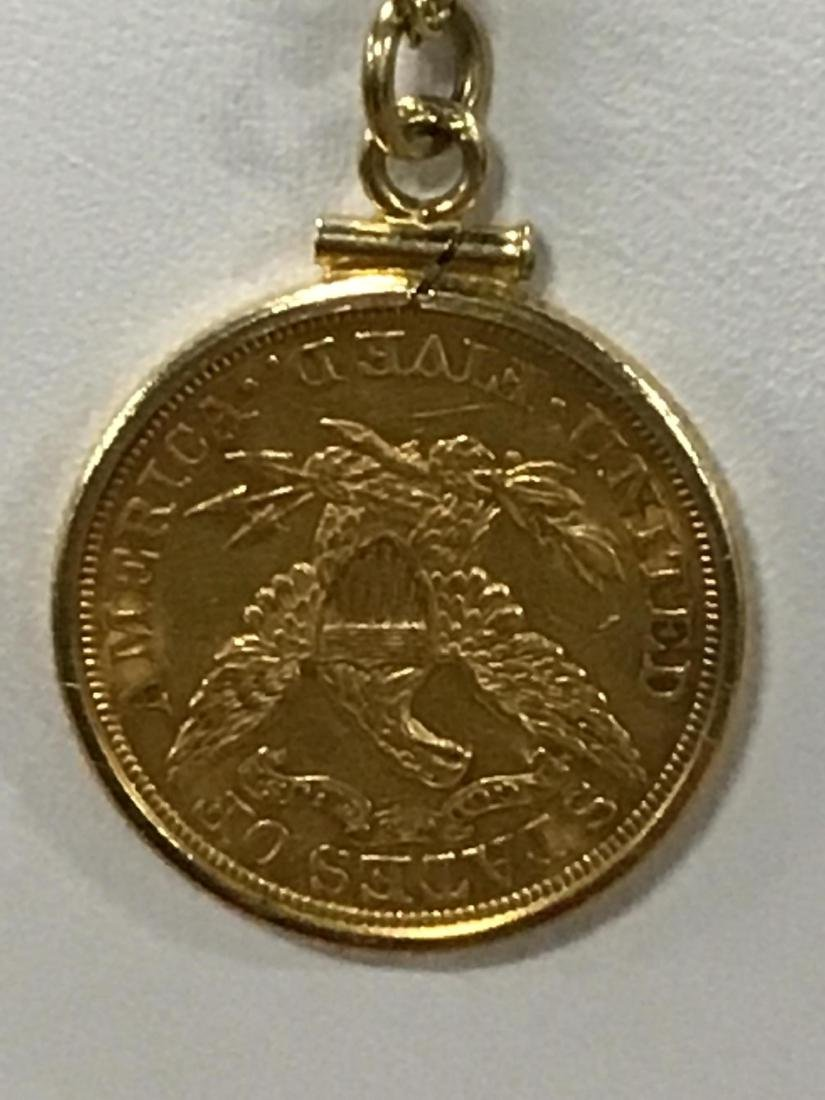 1898 $5 Gold Piece on Pendant on Gold Chain - 3