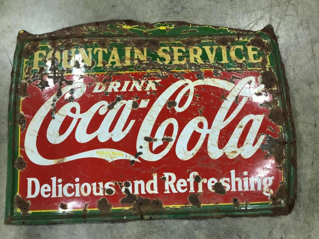 Original Porcelain Coca Cola Fountain Service Sign 1936