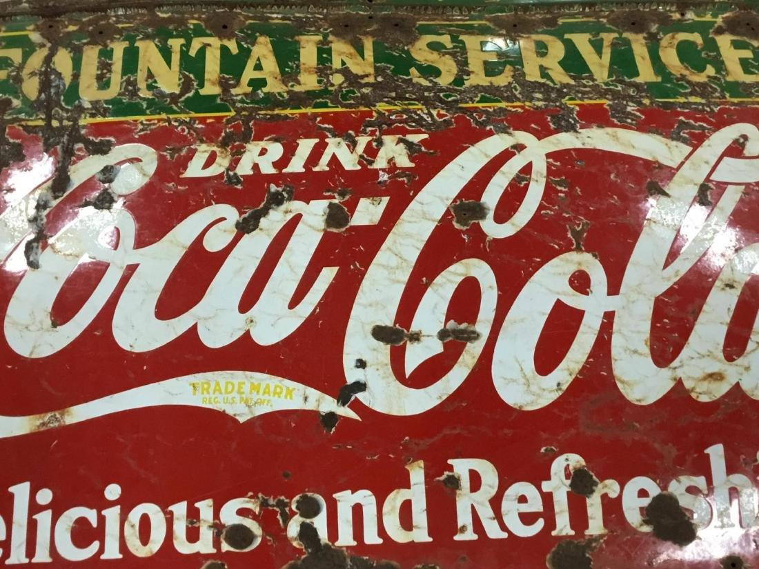 Original Porcelain Coca Cola Fountain Service Sign 1936 - 4