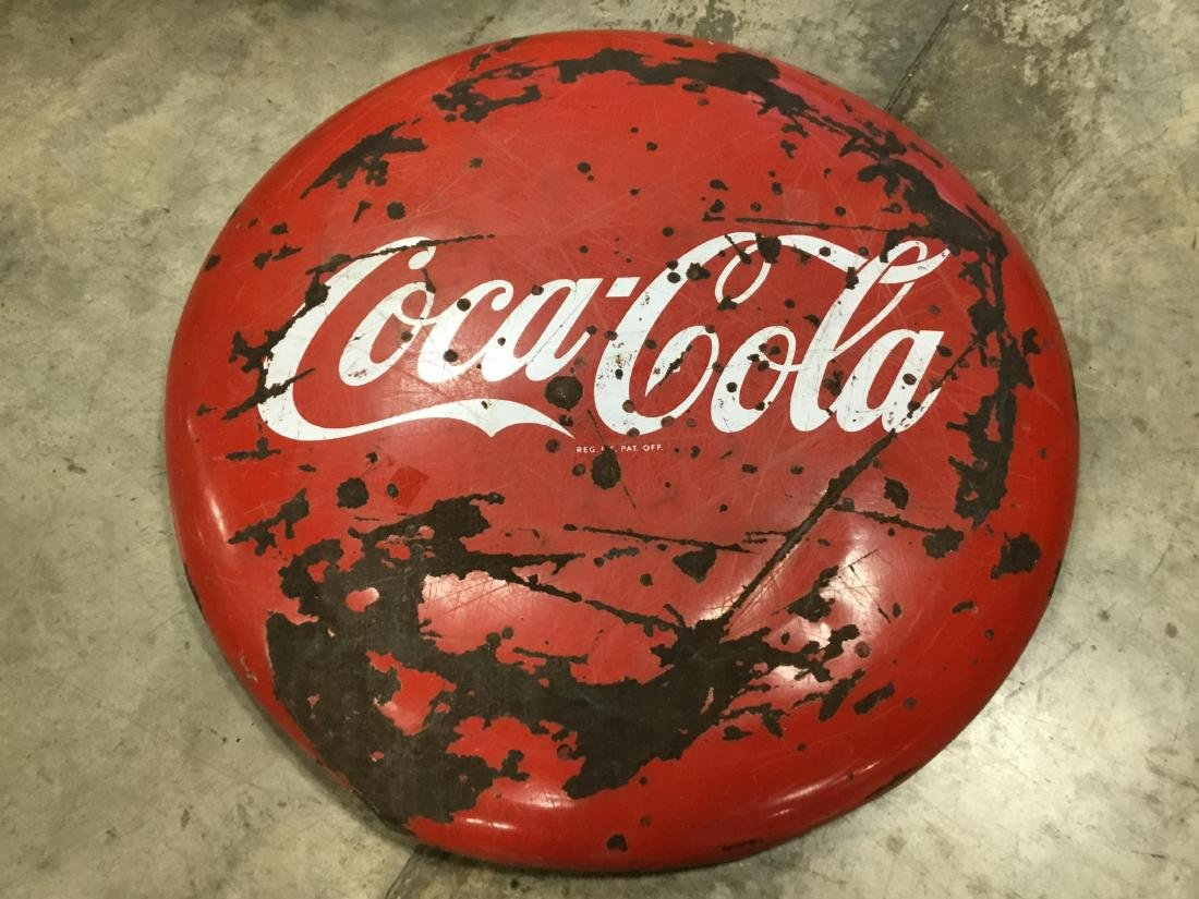 48 Inch Porcelain Coca Cola Button Sign