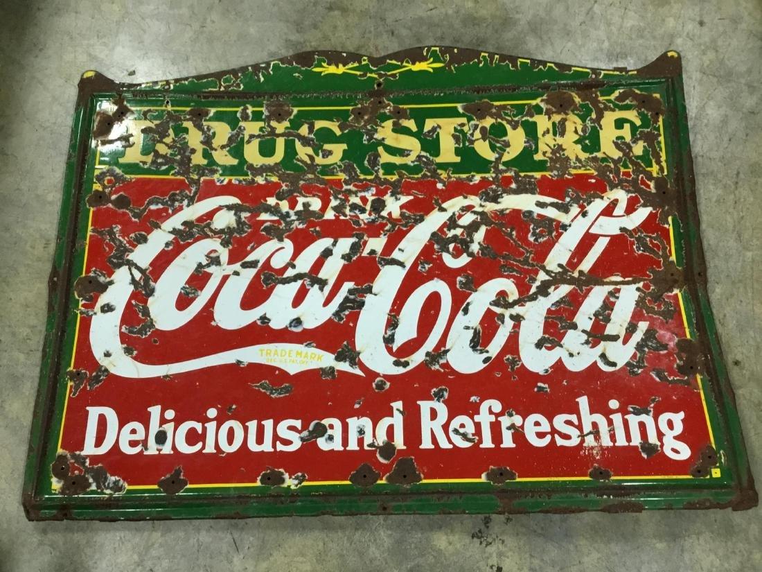 Original Porcelain Coca Cola Drug Store Sign