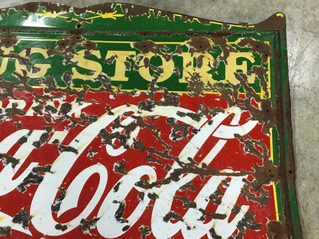 Original Porcelain Coca Cola Drug Store Sign - 4