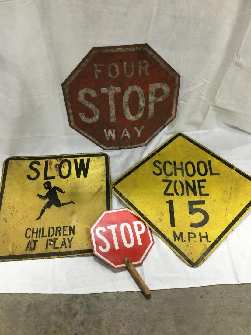 Lot of 4 Early Metal Road Signs