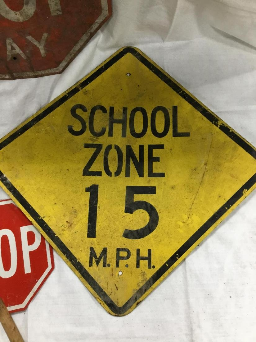 Lot of 4 Early Metal Road Signs - 2