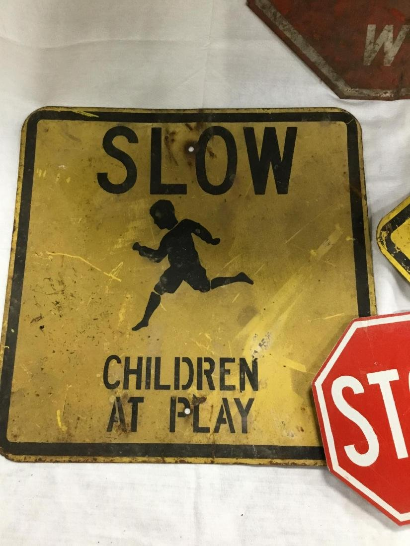 Lot of 4 Early Metal Road Signs - 3