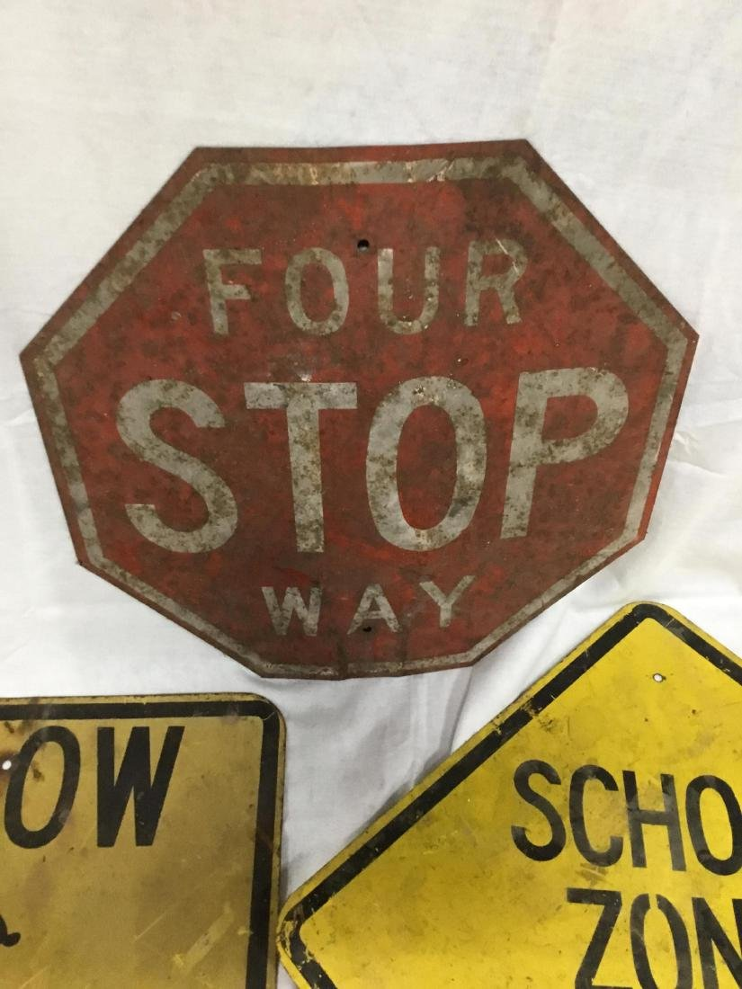 Lot of 4 Early Metal Road Signs - 4