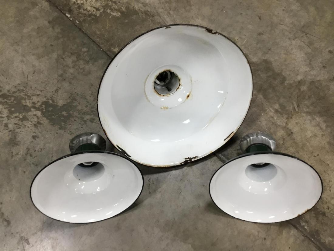 Lot of 3 Porcelain Gas Station Lights - 2