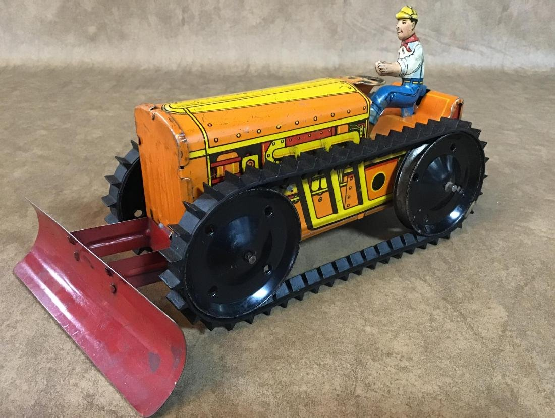 Vintage Marx Toy Tin Wind up Bulldozer - 2