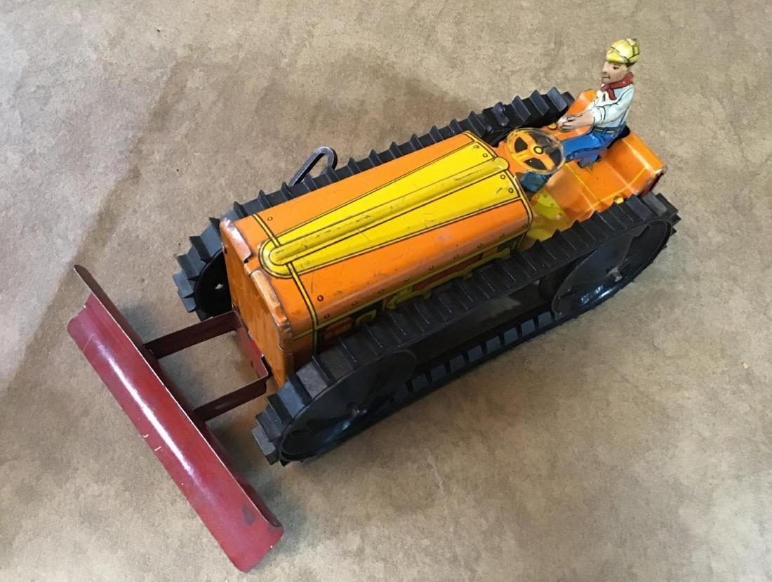 Vintage Marx Toy Tin Wind up Bulldozer - 3