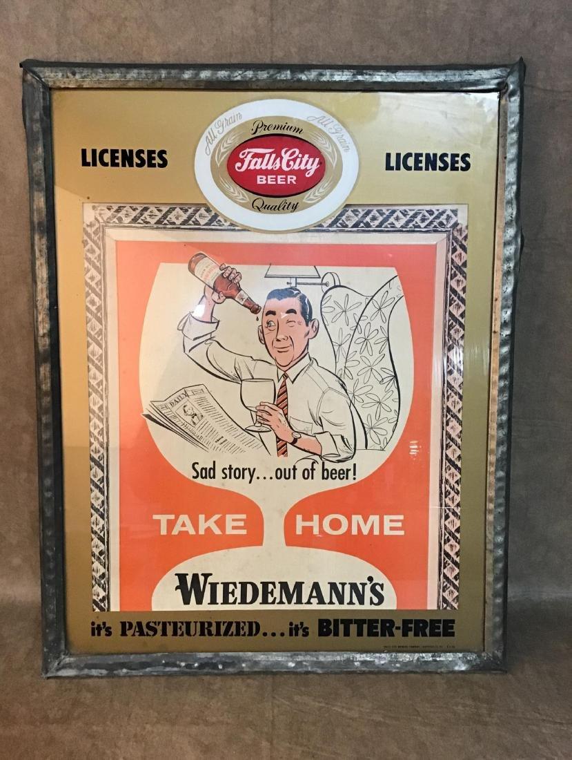 1956 Falls City Beer Framed License Advertising sign.