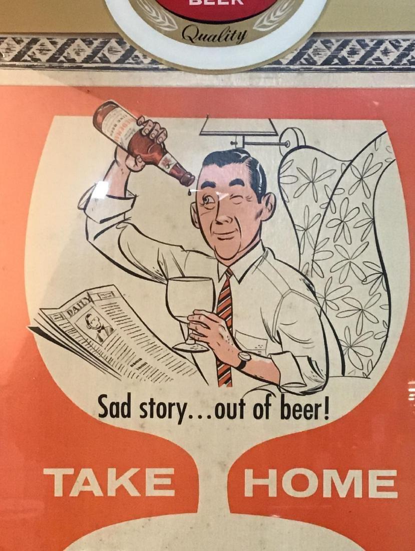 1956 Falls City Beer Framed License Advertising sign. - 2