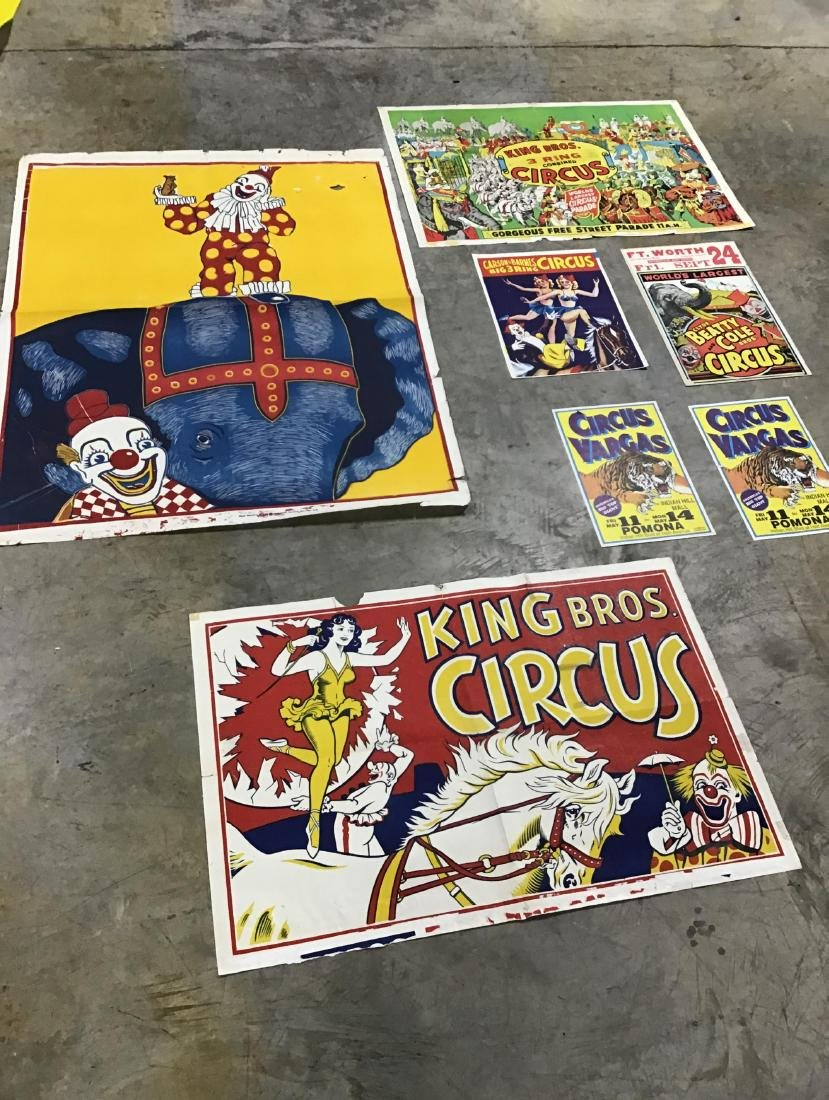 Lot of 7 Vintage and Newer Circus Posters