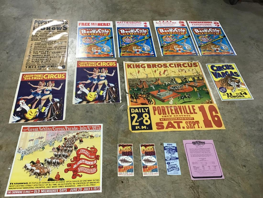 Lot of Vintage and Newer Circus posters, flyers and