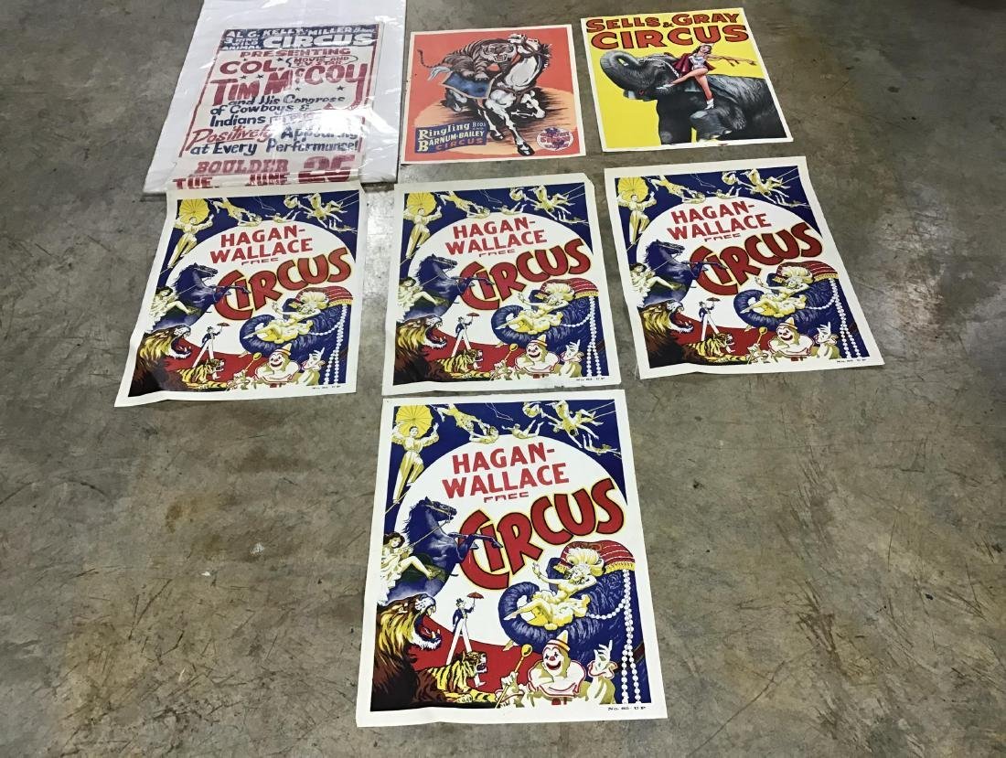 Lot of 7 vintage circus posters