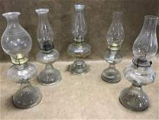Lot of 5 Vintage Oil Lamps