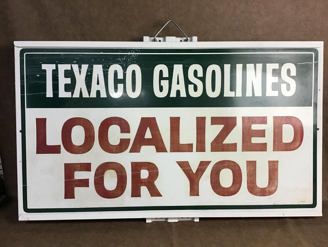 Texaco Gasolines Painted Metal Sign