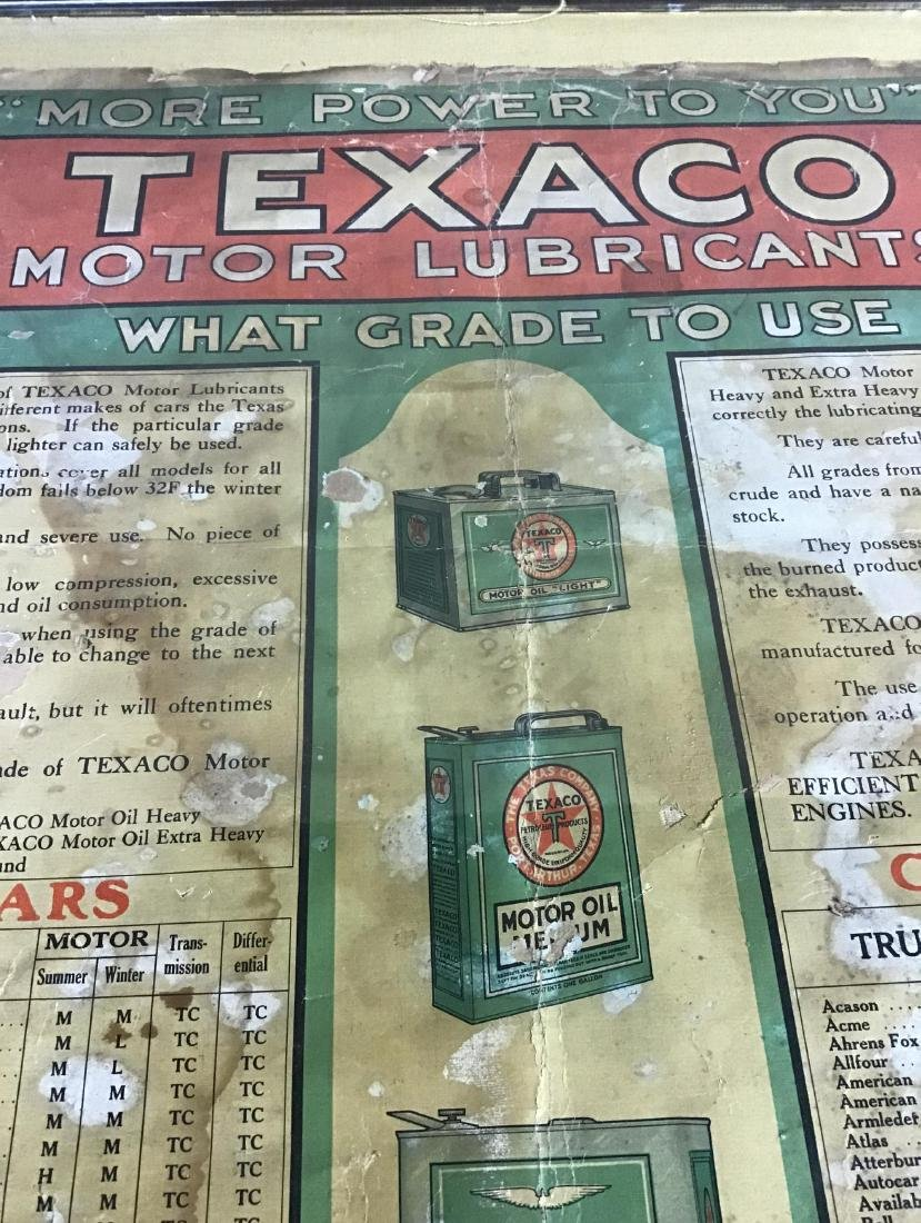 1910-1920's Framed Texaco Motor Lubricant Usage Chart