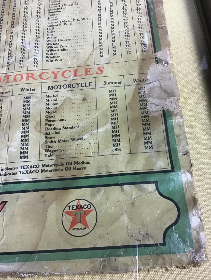 1910-1920's Framed Texaco Motor Lubricant Usage Chart - 3