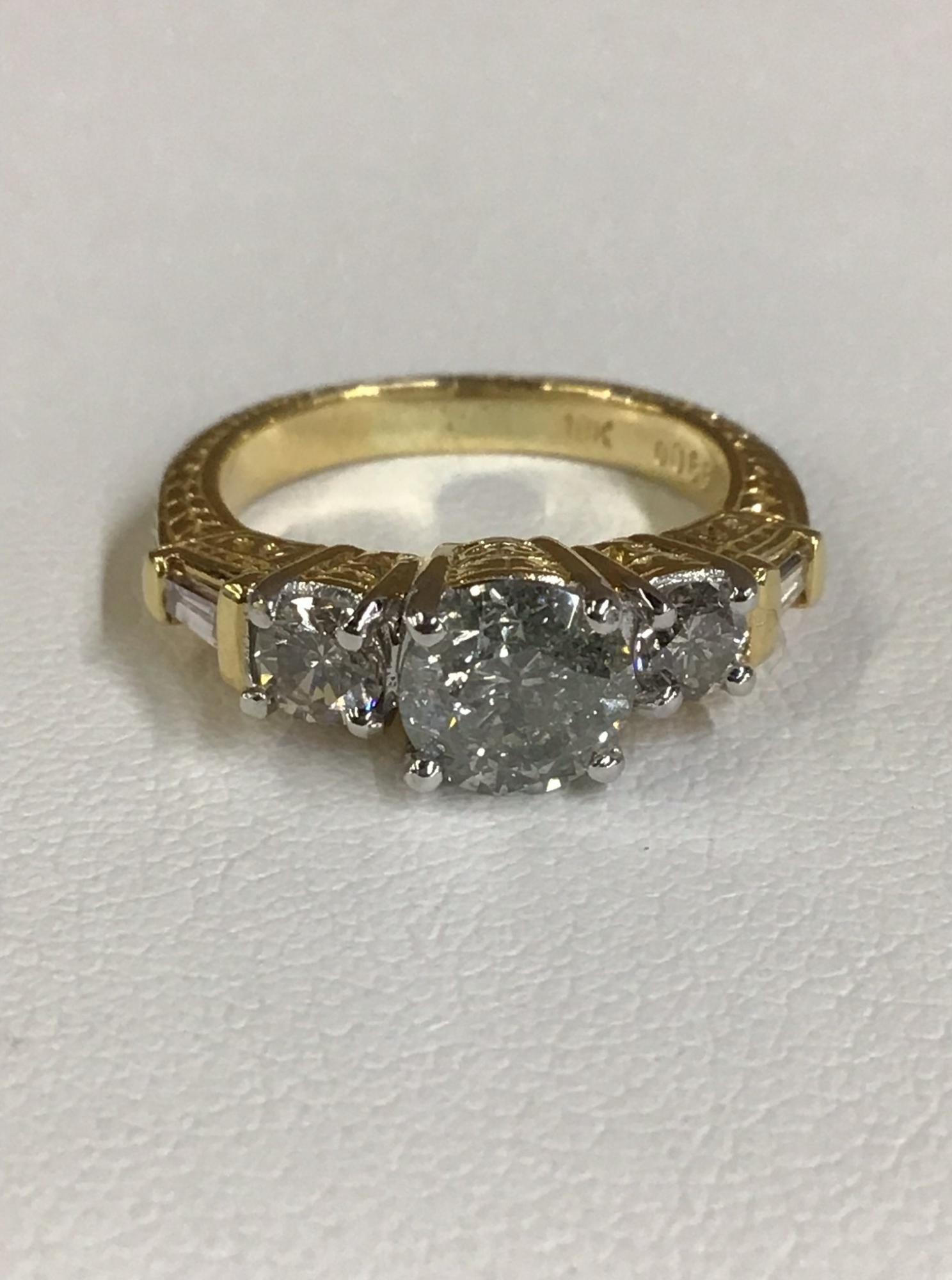 18K Yellow Gold Diamond Ring Approximately 1.7 TCW