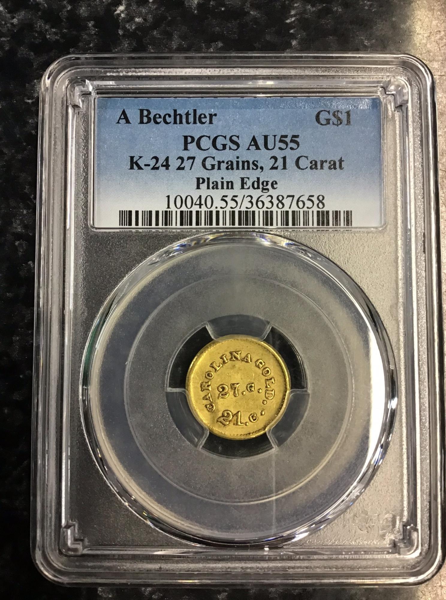 Super Rare!  A. Bechtler Gold Dollar PCGS AU55 K-24