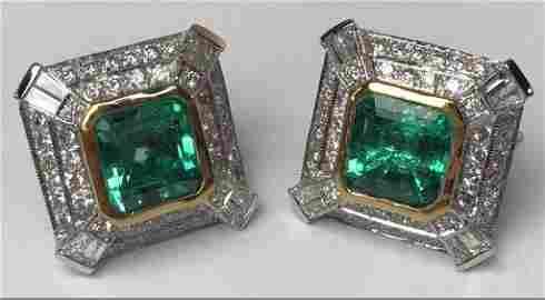 18k Yellow Gold Emerald & Diamond Earrings