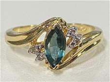 LADIES 10K YELLOW GOLD GEMSTONE & DIAMOND RING