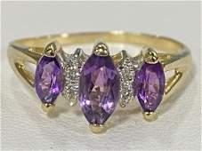 LADIES 14K YELLOW GOLD AMETHYST  DIAMOND RING