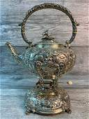 KIRK AND SONS STERLING SILVER REPOUSSE WATER KETTLE