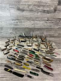 HUGE LOT OF 93 VARIOUS POCKET KNIVES