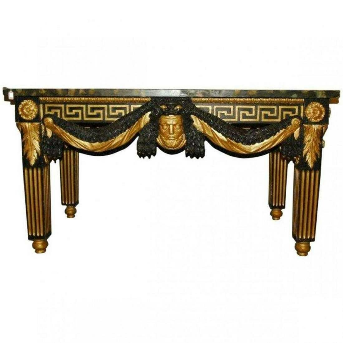 ITALIAN CARVED AND PAINTED FAUX MARBLE TOP TABLE